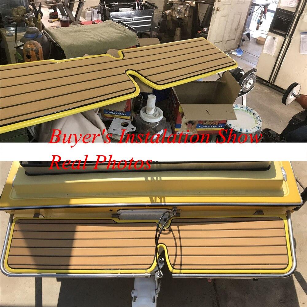 """מערכות ניווט שדרג טיק הסיפון גיליון עבור אביזרים תלוש שטיחים ריצוף ימית סירה יאכטה EVA ללא Mat 90cm240cm / 35.4 """"94.5"""" צהוב בראון (4)"""