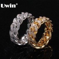 UWIN, 8 мм, кубинские кольца, хип-хоп, для свадебной вечеринки, украшения, полностью льдом, кубический цирконий, модное микро кольцо для мужчин и...
