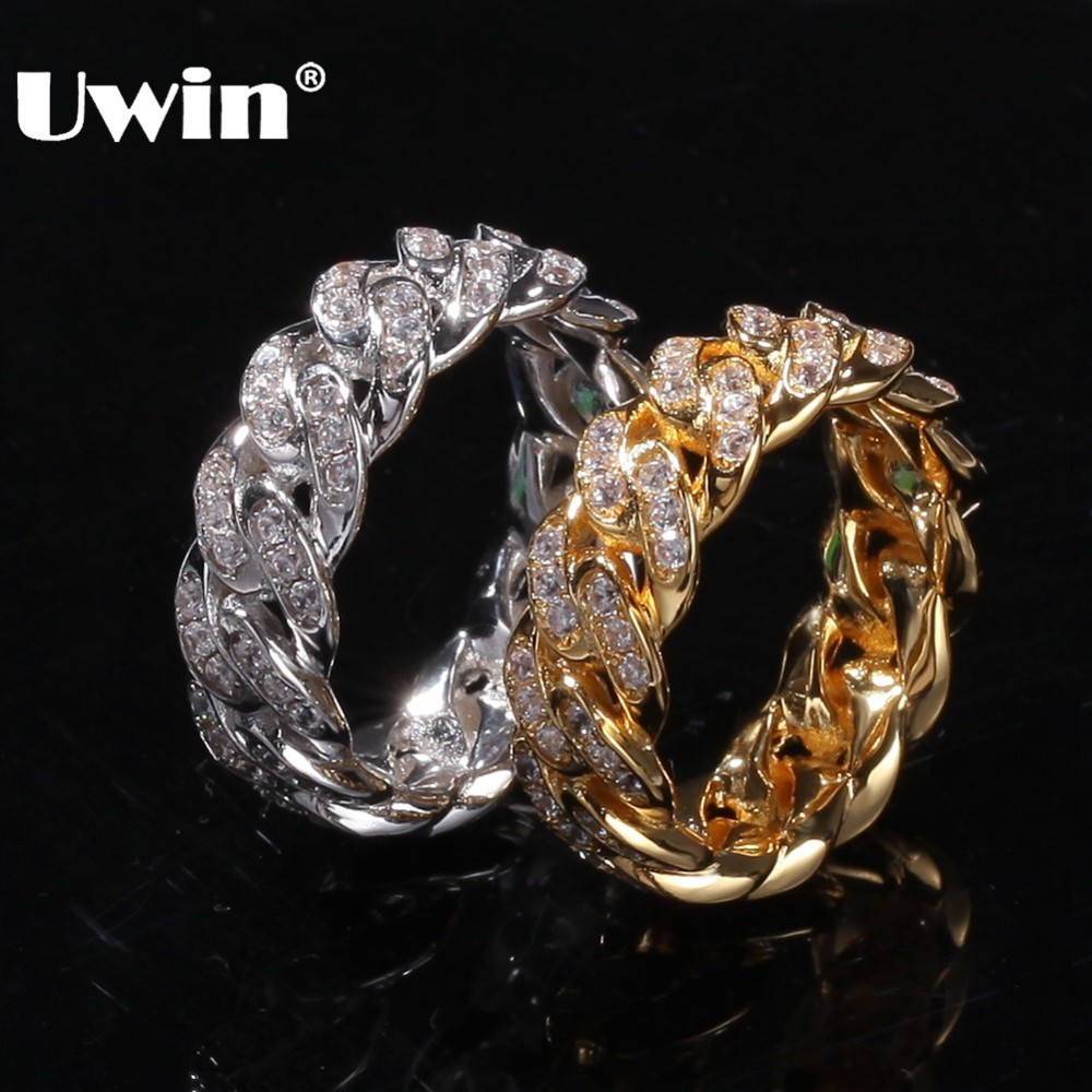 Uwin 8mm Cuban Link Rings Hiphop Wedding Party Jewerly Full Iced Out Cubic Zirconia Fashion