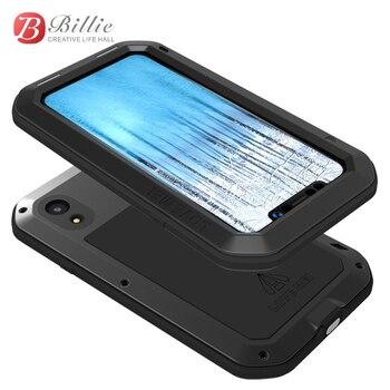 Caso Armadura de Metal de alumínio para o iphone 6.1 XR XR Robusto À Prova de Choque Phone Case Full Body Para Apple iPhone 2018 + tela de Vidro gorila