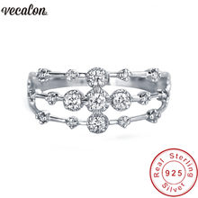 Vecalon Charm joint Ring 100% Soild 925 Sterling Silver Sona 5A Zircon Cz Engagement wedding Band rings for women Finger Jewelry(China)