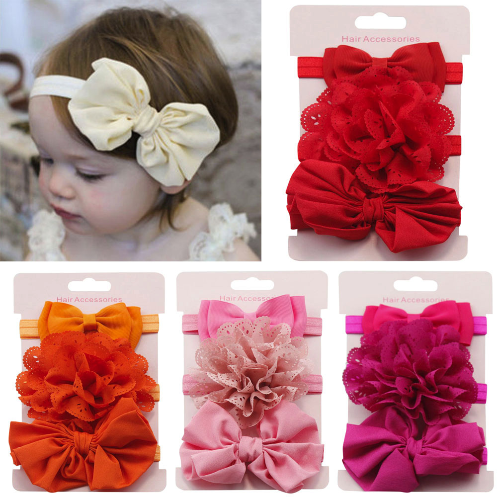 Cute 3pcs/lot Kids Elastic Floral Headband Girls Baby Kawaii Bowknot Solid Color for Infant Toddler Hair Turban   Headwear   Set