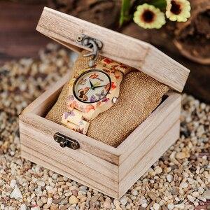 Image 5 - BOBO BIRD O20 فراشة طباعة النساء الساعات جميع الخيزران صنع كوارتز ساعة اليد للسيدات في علبة هدايا خشبية