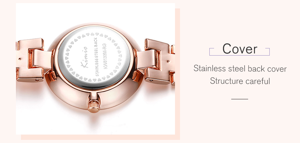 KIMIO Thin Clock Women Fashion Simple Watches Rhinestones Dress Woman Watch Rose Gold Quartz Ladies Women's Watch Wristwatch 28