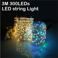 99Ft 30m 300 LED Outdoor Fairy Lights Copper Wire LED String Starry Light Power Adapter For