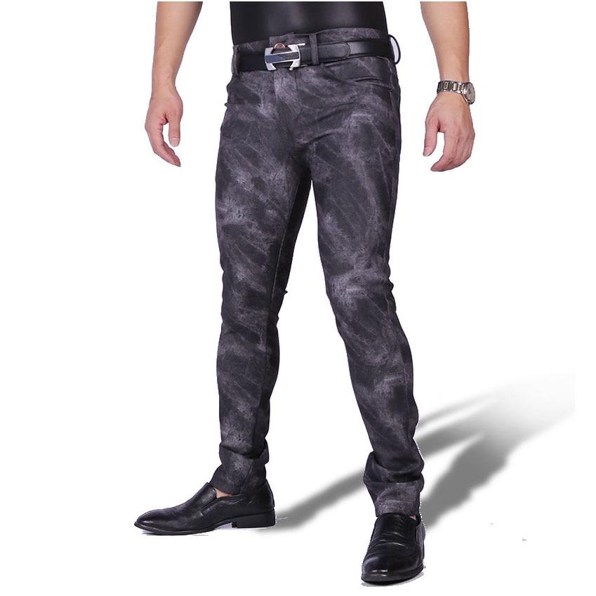 Pantalon d'hiver en polaire fine de grande taille pour hommes Camouflage PU Pantalon crayon en cuir Moto Streetwear Pantalon Homme Boycon Pantalon Clubwear