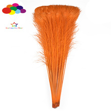 100pcs 100% Natural Peacock Feathers fade orange 28-44inch/70-110cm High Quality for Diy carnival costume mask headdress