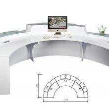 Высокое качество полукруглый выставочный стеклянный Топ стойка приема посетителей дизайн для зоны приема QT3316