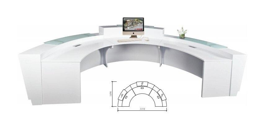 US $2563.0 |Hohe qualität halbkreis halb runde ausstellung glas top  empfangstheke schreibtisch design für rezeption QT3316-in Empfangstresen  aus Möbel ...