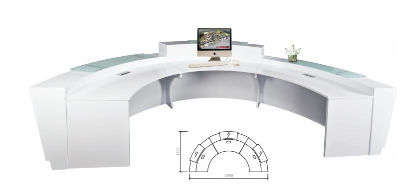 High Quality Semi Circle Half Round Exhibition Gl Top Reception Counter Desk Design For Area Qt3316 In Desks From Furniture On