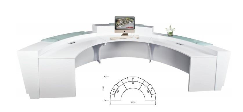 High Quality Semi-circle Half Round Exhibition Glass Top Reception Counter Desk Design For Reception Area QT3316