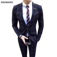 (Куртка + Штаны) Для мужчин костюм тонкий Лето Осень Новые поступления Бизнес жених свадебная одежда королевский синий, хаки 70% шерсть Для му