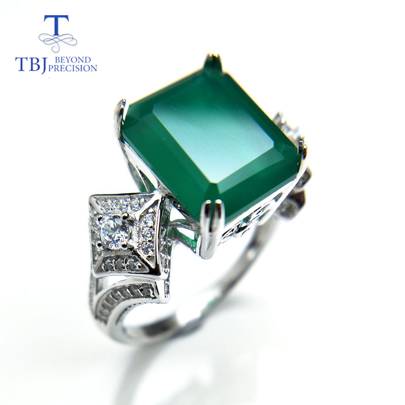 TBJ,gemstone Ring with natural green agate in 925 sterling silver grace and nobility gemstone jewelry for women ladies gift ethnic wind bracelets men and women decorations green agate 925 silver ball duobao string original jewelry