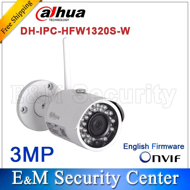 Original dahua english version IPC HFW1320S W 3MP IR Mini Bullet Wi Fi Network Camera CCTV IP camera IPC HFW1320S W-in Surveillance Cameras from Security & Protection    1