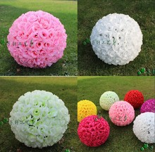 25CM 10 inch Artificial Encryption Rose Silk Flower Kissing Balls Hanging Ball Christmas Ornaments Wedding Party