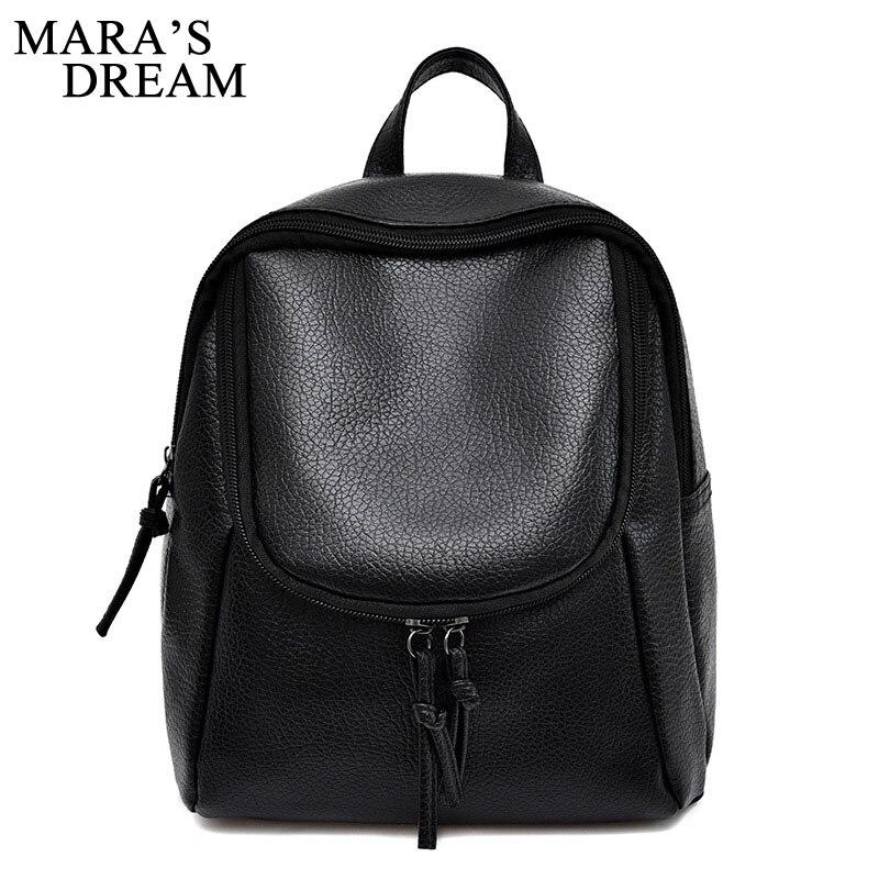 Maras Dream PU Leather Backpack Women Backpack Fashion Black Backpacks For Teenage Girls School Bags Brand Women Bag Mochila