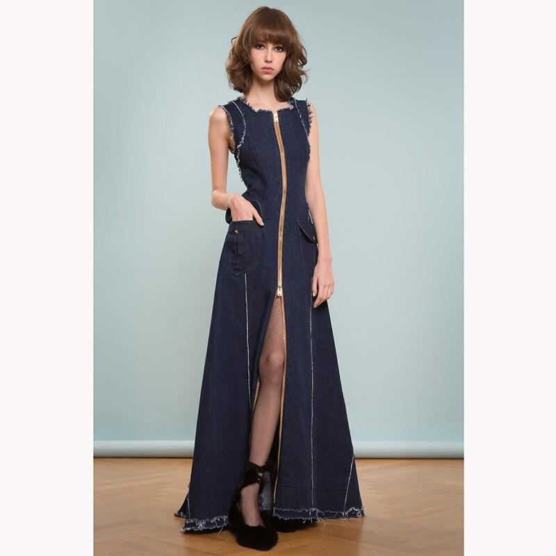 Haut Nouvelle D'été Filles Arrivée De 2017 Bleu Manches Mode Étage Robe Vêtements Zipper Femmes Longueur Split Denim Nvm8wn0O