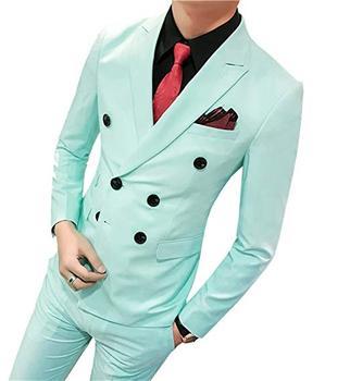 Classic Style Double Breasted Mint Green Groom Tuxedos Peak Lapel Groomsmen Men Blazers Suits (Jacket+Pants+Tie) NO:482