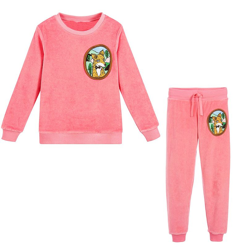 Girls Christmas Outfits Boys Clothing Set Brand Baby Girls Winter Clothes Kids Tracksuit Velour Fleece Fox Children Sets 2Colors