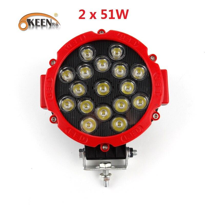 OKEEN 2pcs Car Light Bar 51W LED Work Lights 12V 24V High Power Spot Beam for Lada 4x4 Offroad Truck Tractor ATV SUV Auto Lamp