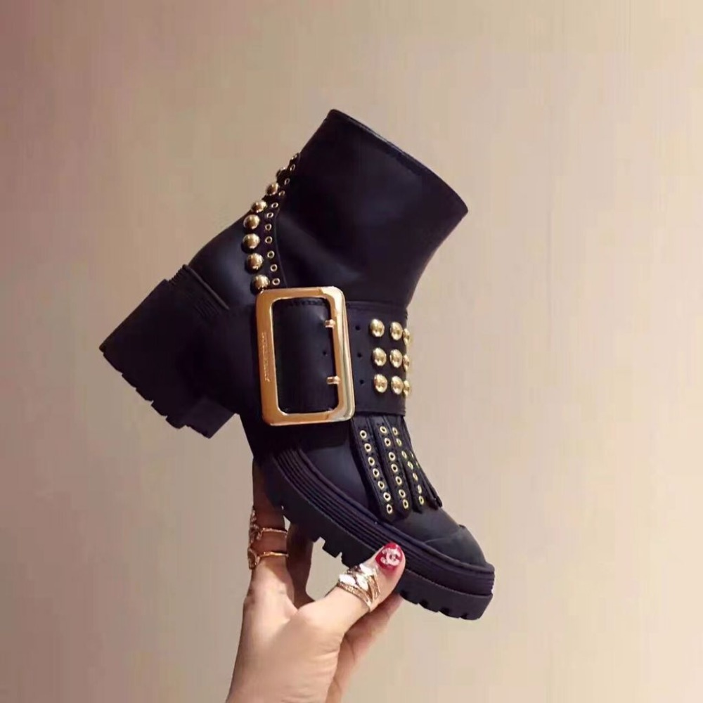 lastest 2016 hot star same design women cool rivet tassel big buckle ankle boots with thick heel fall winter shoes for female