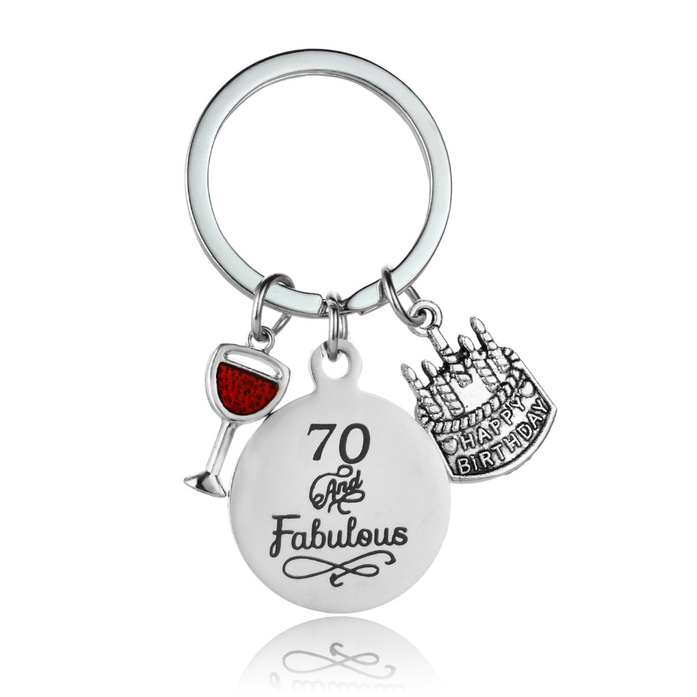 Happy Birthday Gift For Grandpa Grandma Enamel Fabulous 70 Cake Keychain Key Ring Stainless Steel Granddad Jewelry