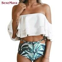 SexeMara Double Lotus Leaf Side 2017 Bikinis Women Biquinis Off Shoulder Swimsuit High Waist Swimwear Women