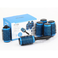 D tach Round Hair Brush Set Ceramic Barber Salon Styling Tool Comb set Curling Brush 45mm 6 rollers+1 Handle Medium Size