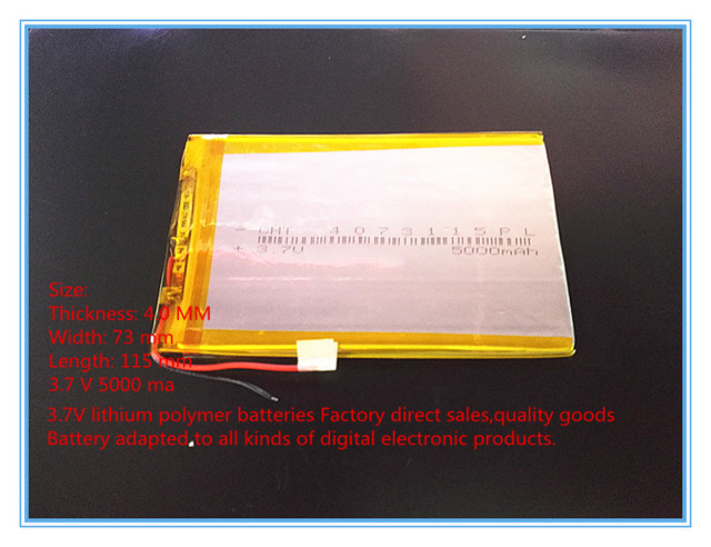 3.7V,5000mAH,[4073115] PLIB; polymer lithium ion / Li-ion battery for tablet pc,NOVO7 Venus,Crystal,Elf,Aurora,Tornados