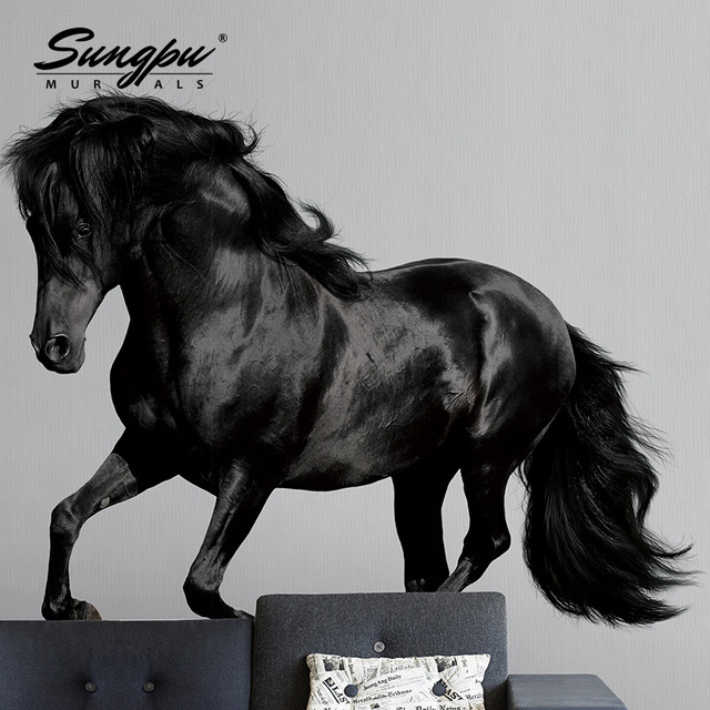 3d Wallpaper Wall Mural HD Beautiful Bedroom Living Room Black Horse High Definition Grey Background Picture