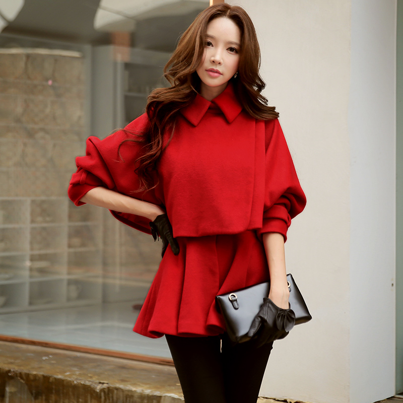 Dabuwawa Red Winter Trench Coats Long Sleeve Casual Two Pieces Slim Woolen Female Overcoat Christmas Outerwear