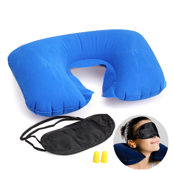 Travel Essential Inflatable Pillow Patch Earplug 3 In1 Travel Set Inflatable Neck Cushion Pillow + Eye Patch+Earplug For Travel