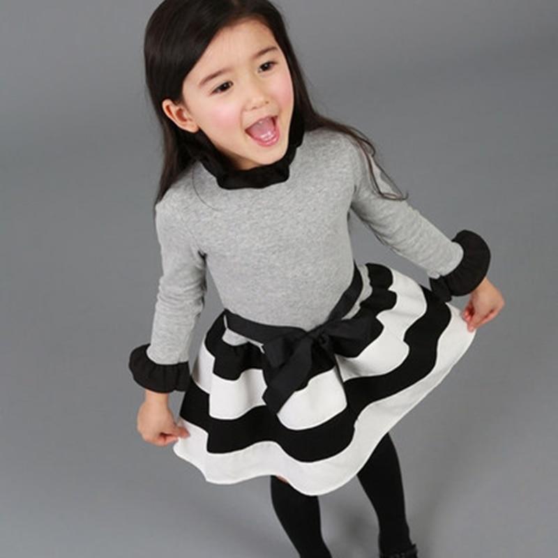 brand kids dresses baby girl princess grey black striped prints dress for girls party costume