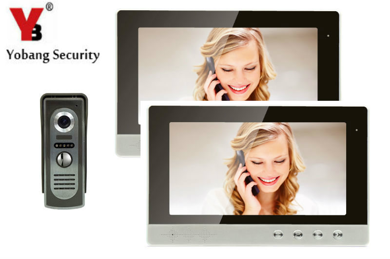YobangSecurity 10Inch LCD big Screen Wired Video Intercom Door Phone Doorbell 2-Monitor 1-Camera Night Vision usenda manufacture oem 55 inch lcd big screen video wall with 3 5mm bezel for advertising control room