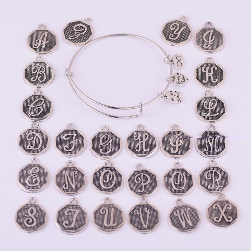 Amerika Diupgrade Gelang Perak Kuno A-Z Surat Awal Alphabet Charm - Perhiasan fashion - Foto 3