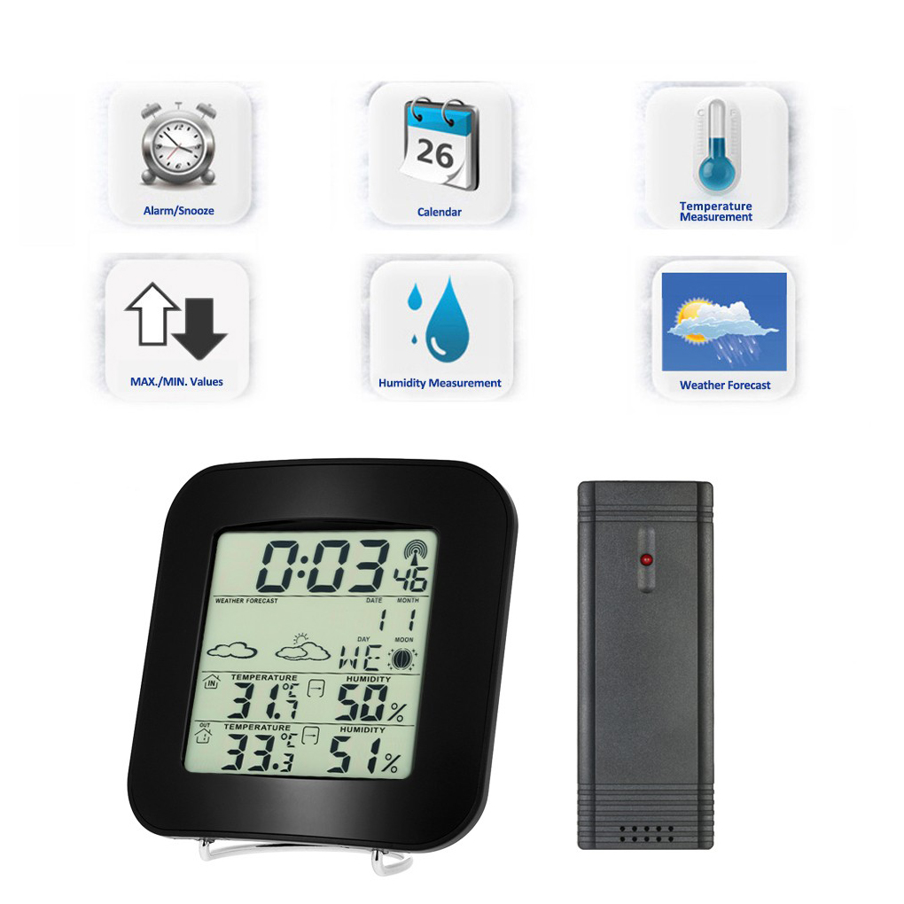 Wireless Sensor Home Thermometer Hygrometer Digital Temperature Humidity Meter Indoor Outdoor LED Ambient Weather Station wireless weather station alarm clock digital cobblestone shaped led indoor outdoor temperature humidity meter with remote sensor