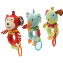 Baby Cartoon Animal Rattles Monkey Elephant Puppy Toy 0-2 Year Old Baby Puzzle Doll Baby Rattle Toy Gift