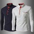 2016 Nova Chegada Ponto Onda Da Moda POLO Sólidos Shirt dos homens Casual Slim Fit Treino Longo-Sleeved camisa masculina T-shirt