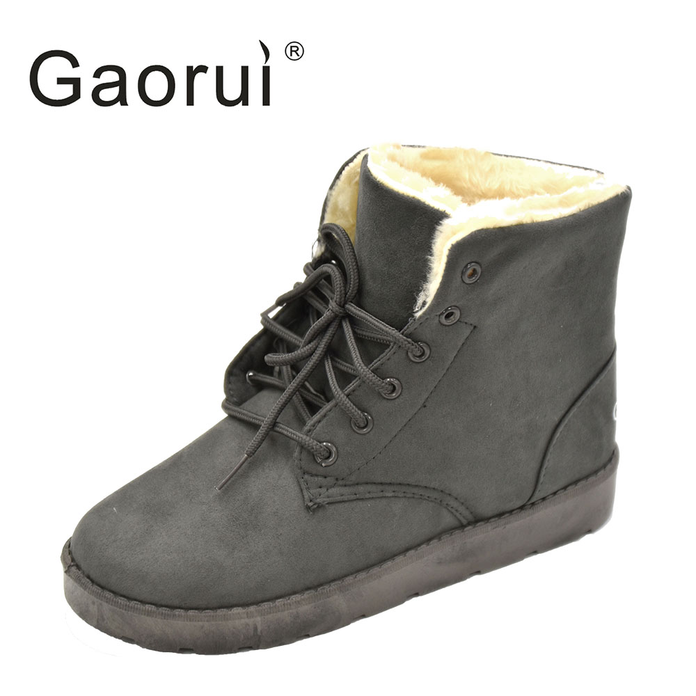 Gaorui New Brand Women Lace-up Snow Boots Winter Solid Warm Flock Martin Boots For Women Push Ankle Boots Plus Size Flat Thick free shipping 2016 new winter women snow boots plus size 34 43 round toe lace up warm sweet pink martin boots boty