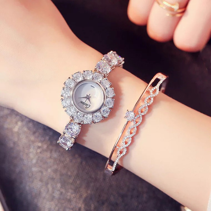 Cacaxi Women Luxury Watches Zircon Decorated Brass Bracelet Wristwatch Women Dress Elegant Coste Watch Relogios Feminino elegant rhinestone bird decorated bracelet with ring for women