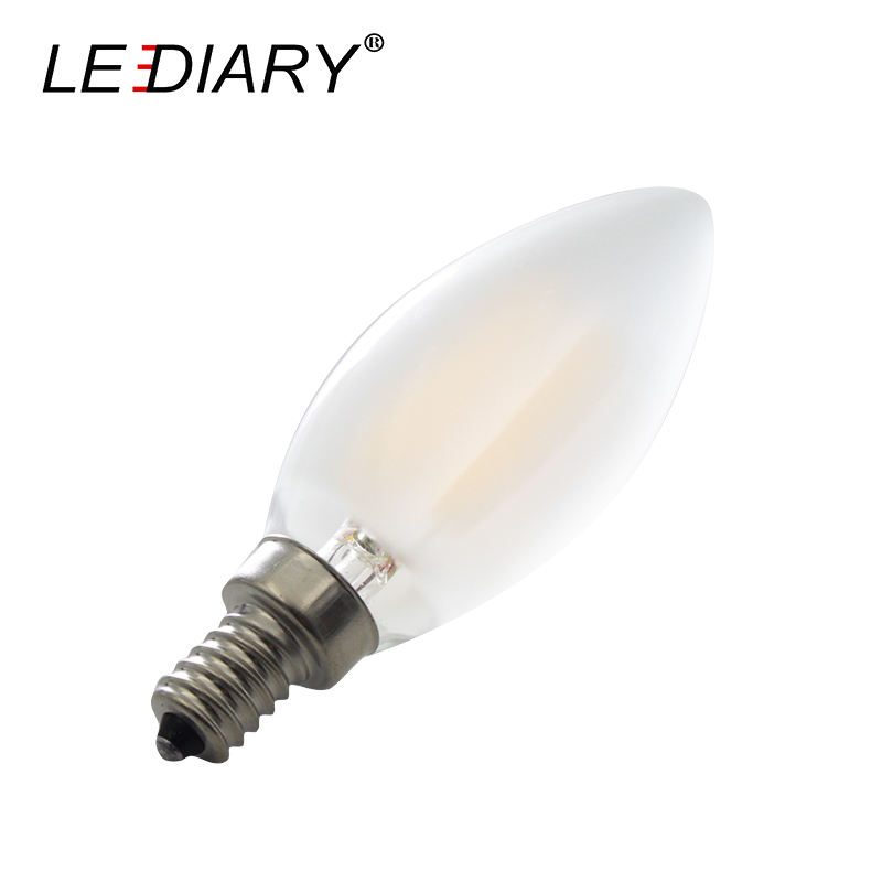 LEDIARY Dimmable Frosted E12 LED Filament Bulb 110V 120V C35 4W/6W Glass Edison Candle Warm White Lamp For Crystal Chandeliers open front drape cardigan