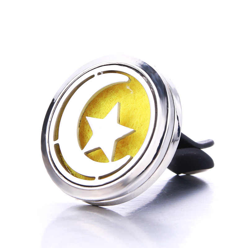 Silver Fine Moon Stars Car Clip Stainless Steel Perfume Essential Oil Diffuser Car Air Outlet Freshener Decoration Aroma Locket