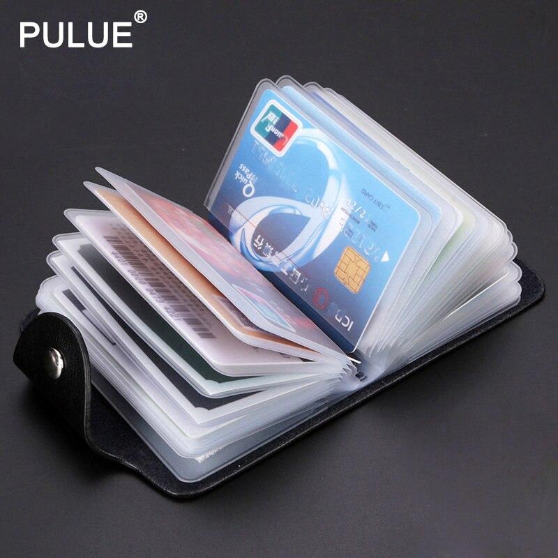 Couro de ferrolho 24 slots bits cartão de visita saco caso de cartão homem mulher id titular banco organizador do cartão de crédito sacos passaporte cartão carteira