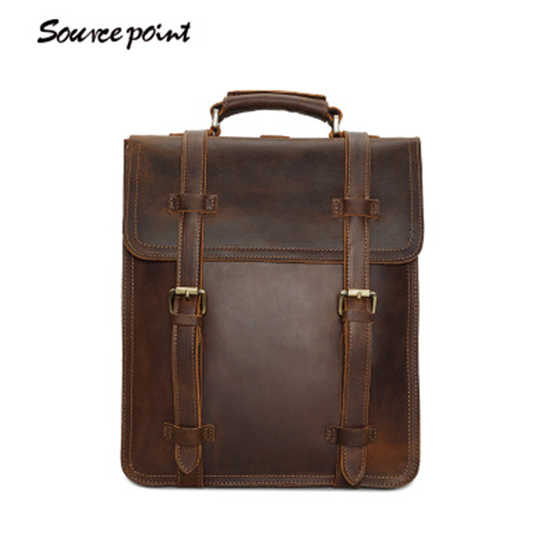 YISHEN Retro Men Backpack Crazy Horse Leather Men School Bag Casual Business Men Bags Mochila Vintage Male Backpacks YD-8062YISHEN Retro Men Backpack Crazy Horse Leather Men School Bag Casual Business Men Bags Mochila Vintage Male Backpacks YD-8062