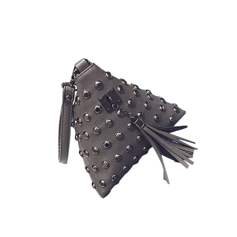 2017 Unique Design Female Coin bags Triangle rivets coin tassel Clutch Small feast purse woman handbag Bag Coin Cases A8