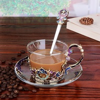 201 300ml enamel coffee cup set dish Saucer Set European style mug cup tea cup tea set