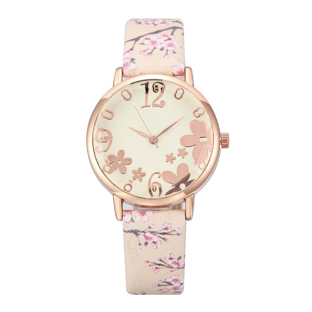 New Arrival 2019 Women Watches Fashion Embossed Flowers Small Fresh Printed Belt Student Quartz Wrist Watch Relogio Feminino A3