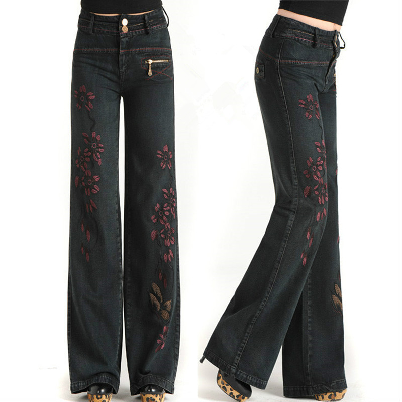 Free Shipping 2017 New Fashion High Waist Spring And Autumn Vintage Embroidery Jeans Denim Pants Wide Leg Pants Trousers Women