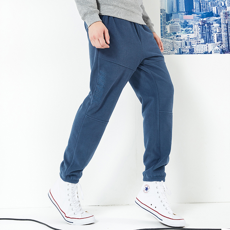 Pioneer camp new winter thick fleece sweatpants men brand clothing letter embroidery warm trousers male quality pants AZZ801373