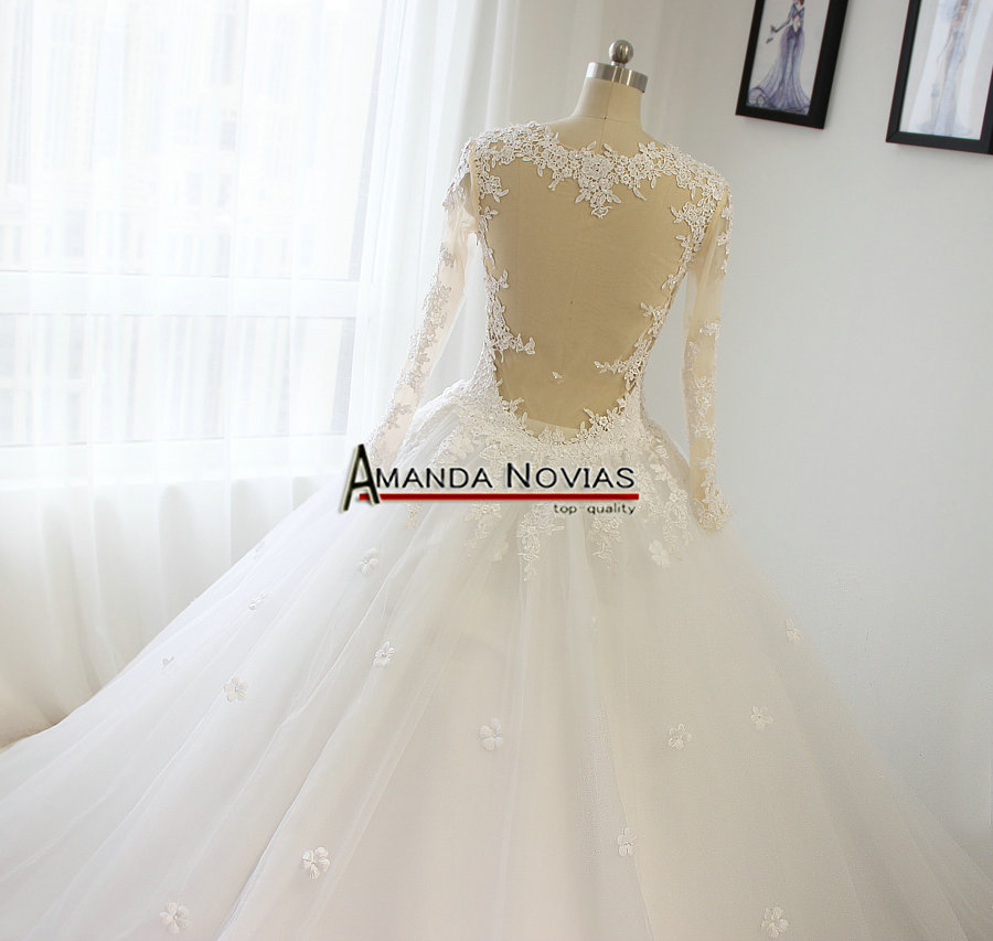 High Quality Long Sleeve Lace Liques Flowers Skin Color Tulle Wedding Dress In Dresses From Weddings Events On Aliexpress Alibaba Group
